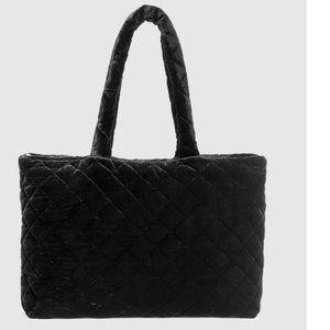 Eileen Fisher Black Quilted Velvet Diamond Bag